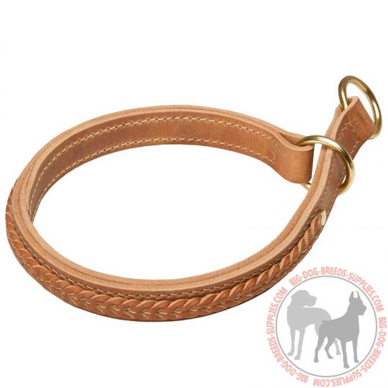 Braided Leather Choke Dog Collar for Training and Behavior Correction