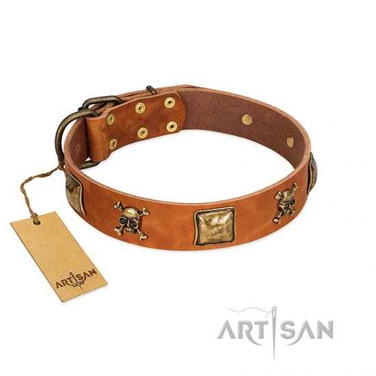 """Knights Templar"" FDT Artisan Tan Leather dog Collar with Skulls and Crossbones Combined with Squares"