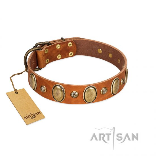 """Venus Breath"" FDT Artisan Tan Leather dog Collar with Vintage Looking Oval and Round Studs"