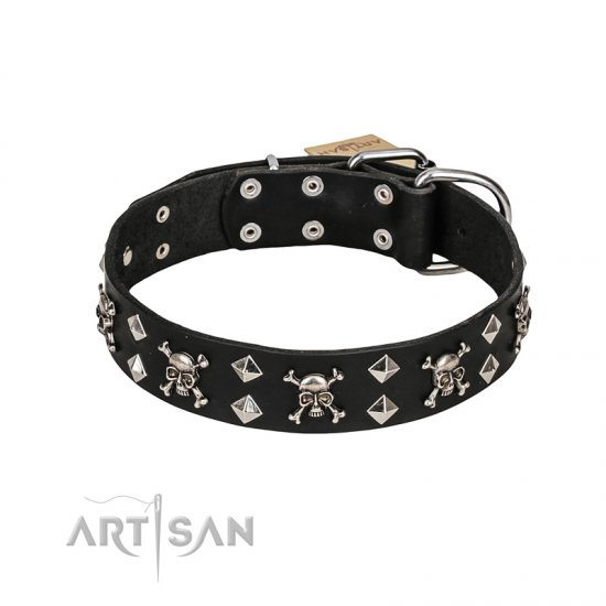 FDT Artisan 'Rock 'n' Roll Style' Leather Dog Collar with Skulls, Bones and Studs 1 1/2 inch (40 mm) wide