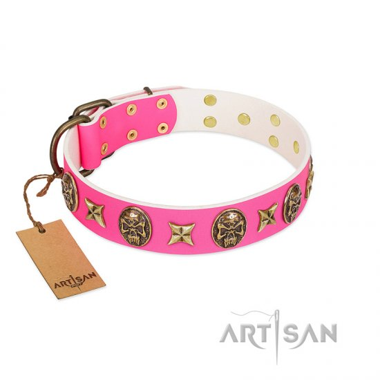 """Fashion Ecstasy"" FDT Artisan Pink Leather dog Collar with Bronze-like Plated Stars and Skulls"