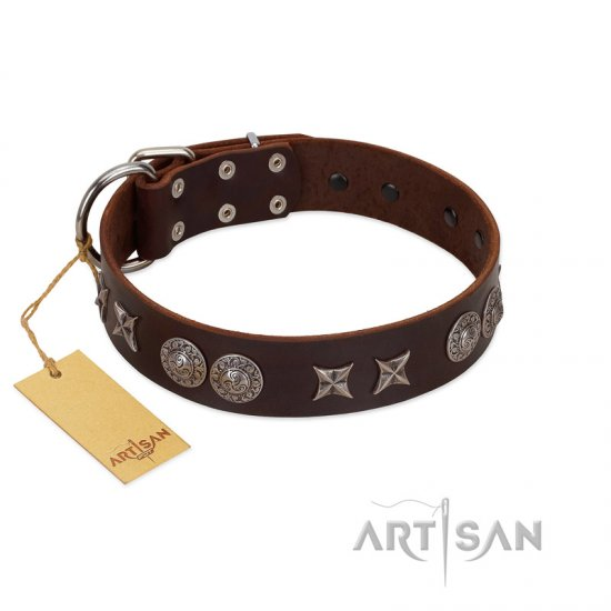 """Antique Style"" Designer Handmade FDT Artisan Brown Leather dog Collar"