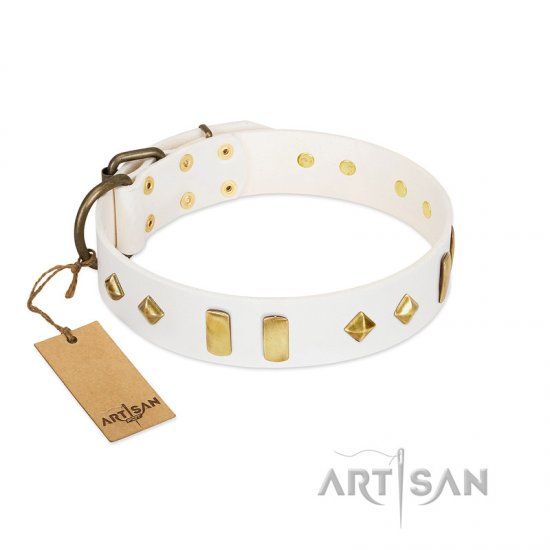 """Hella Cool"" FDT Artisan White Leather dog Collar Adorned with Plates and Rhombs"