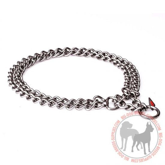 """Double Chain"" Stainless Steel Dog Collar with 2 Rows of Chains - 1/9 inch (3 mm)"