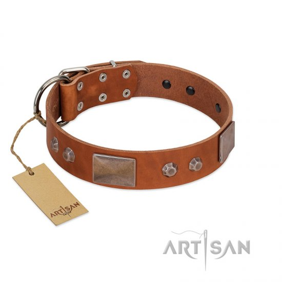 """Great Obelisk"" Handcrafted FDT Artisan Tan Leather dog Collar with Large Plates and Pyramids"