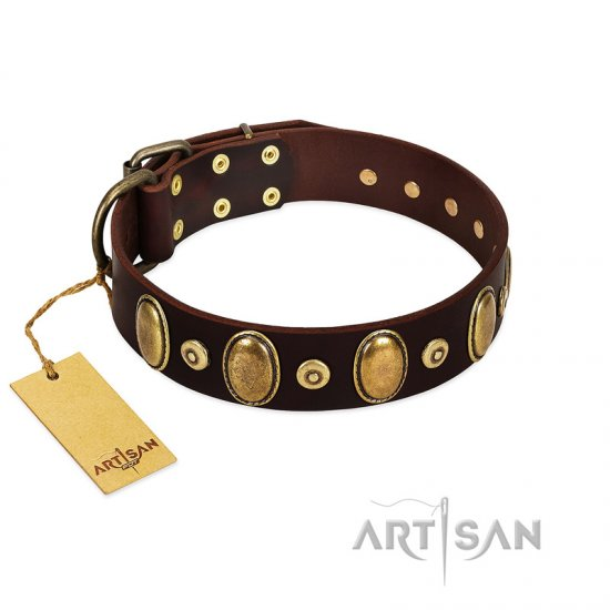 """Retro Pusle"" FDT Artisan Brown Leather dog Collar with Old Bronze-like Studs and Oval Brooches"
