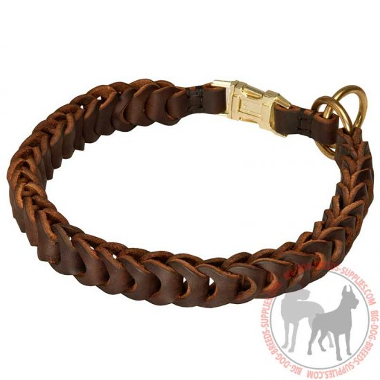 Braided Leather Choke Dog Collar for Walking and Training