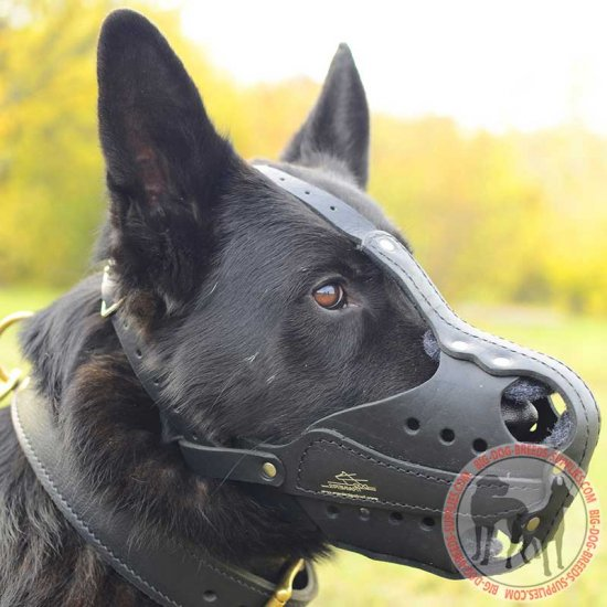 Extra Durable Leather German Shepherd Muzzle with Steel Bars for Attack Training