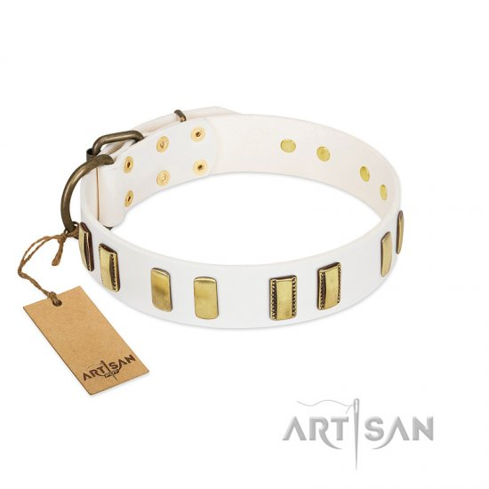"""Glorious Light"" FDT Artisan White Leather dog Collar with Old Bronze-like Plates"