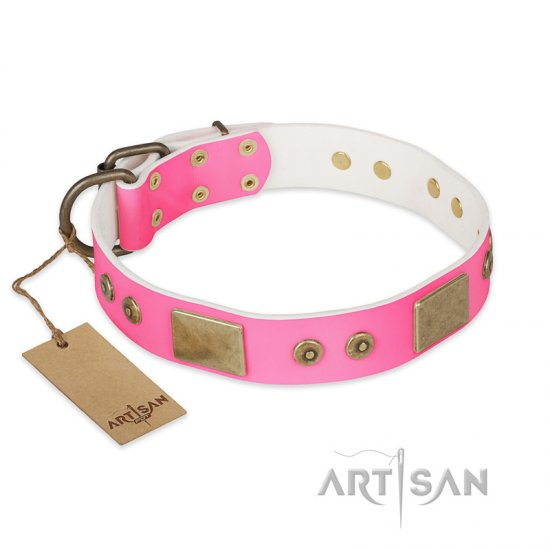 """Pink World"" FDT Artisan Pink Leather dog Collar with Old Bronze Look Plates and Studs"