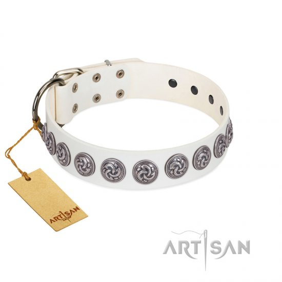 """Bohemian Spirit"" Handmade FDT Artisan White Leather dog Collar with Vintage Decorations"