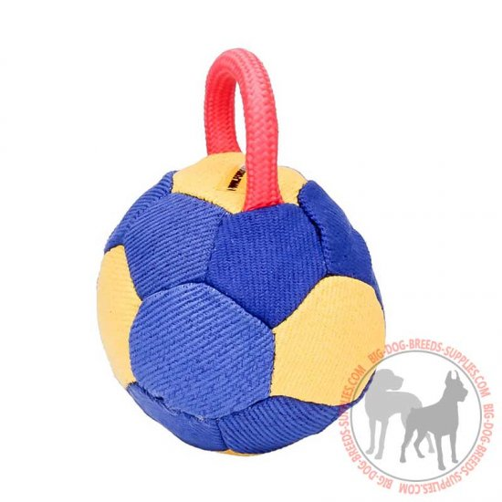 """Easy grab"" French Linen Dog Bite Ball with Nylon Handle"