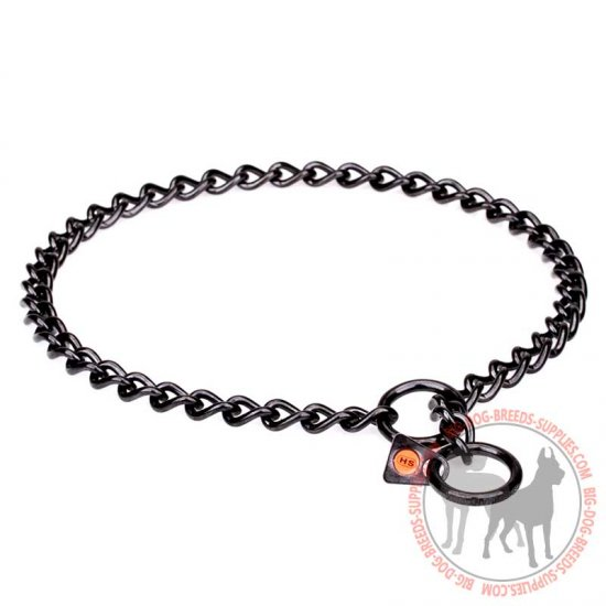 iron trainer dog choke collar of black stainless steel  8 inch  3 mm  wire diameter  hs94