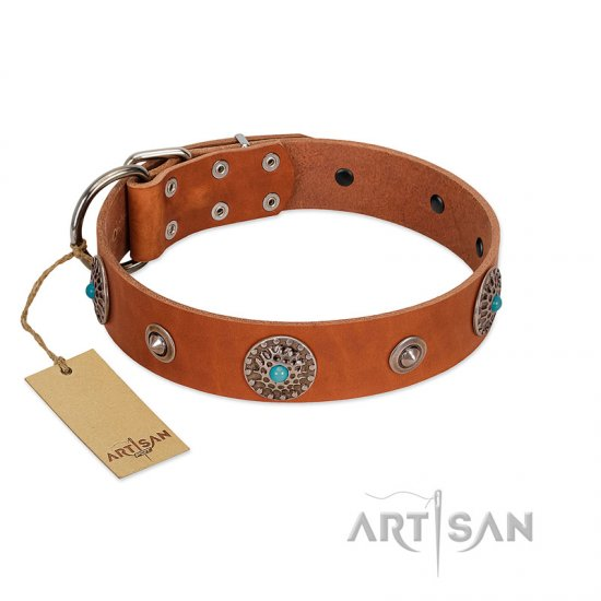 """Marine Antiques"" Handmade FDT Artisan Tan Leather dog Collar with Blue Stones"