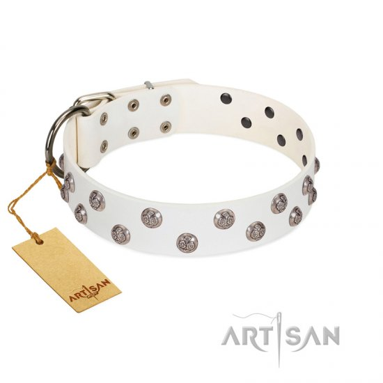 """Wild Flora"" FDT Artisan White Leather dog Collar with Silver-like Engraved Studs"