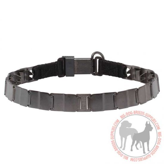 'Strength'n'Power' Neck Tech Dog Collar of Stainless Steel Matt - 24 inch (60 cm)