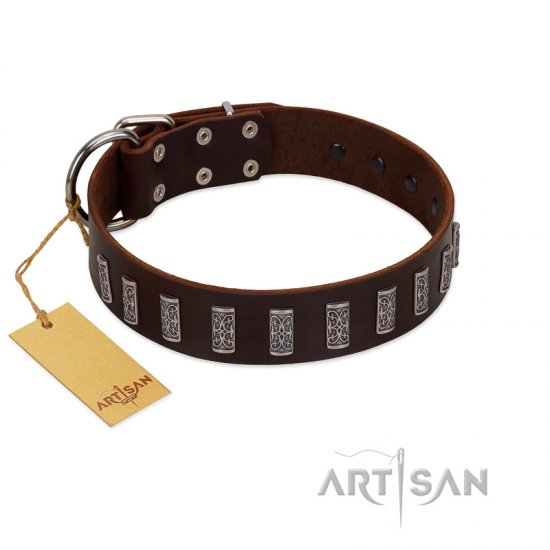"""Brown Lace"" Handmade FDT Artisan Brown Leather dog Collar for Everyday Walks"