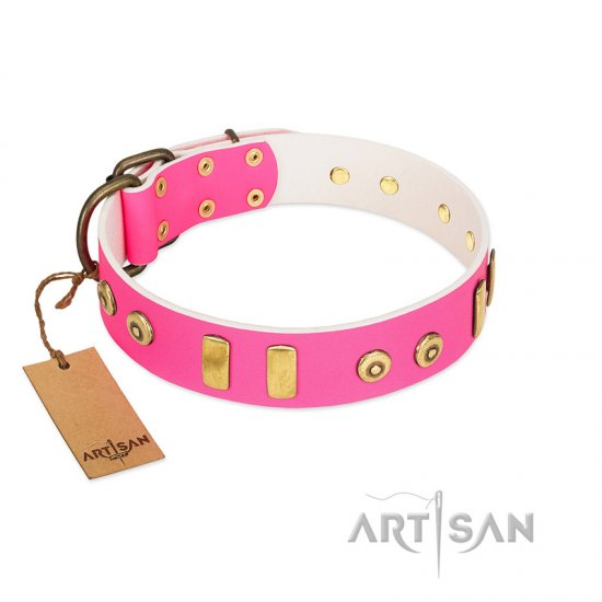 """Prim'N'Proper"" Handmade FDT Artisan Pink Leather dog Collar with Old Bronze-like Dotted Studs and Tiles"