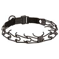 Black Stainless Steel Dog Pinch Collar with Click Lock Buckle - 1/8 inch (3.2 mm) link's diameter
