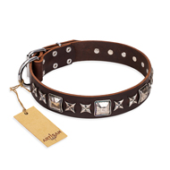 """Perfect Impression"" FDT Artisan Brown Leather Dog Collar with Square Studs - 1 1/2 inch (40 mm) Wide"
