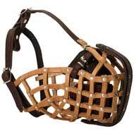 Leather Basket Dog Muzzle for Attack / Agitation Training