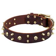 """Hard Rock"" Leather Dog Collar with Spikes and Skulls Decor"