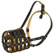 Padded Leather Basket Dog Muzzle with Good Air Flow
