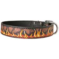 Painted in Flames Leather Dog Collar for Walking and Training