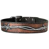 Handpainted Leather Dog Collar for Walking and Training