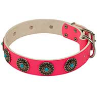 Pink Leather Dog Collar with Blue Stones for Walking She-Dogs