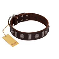"""Spiky Way"" FDT Artisan Brown Leather dog Collar with Silver-Like Decorations"