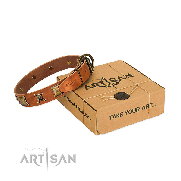 Fashionable full grain genuine leather dog collar with rust resistant embellishments