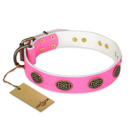 """Forever Fashion"" FDT Artisan Leather Dog Collar with Old Look Plates - 1 1/2 inch (40 mm) wide"