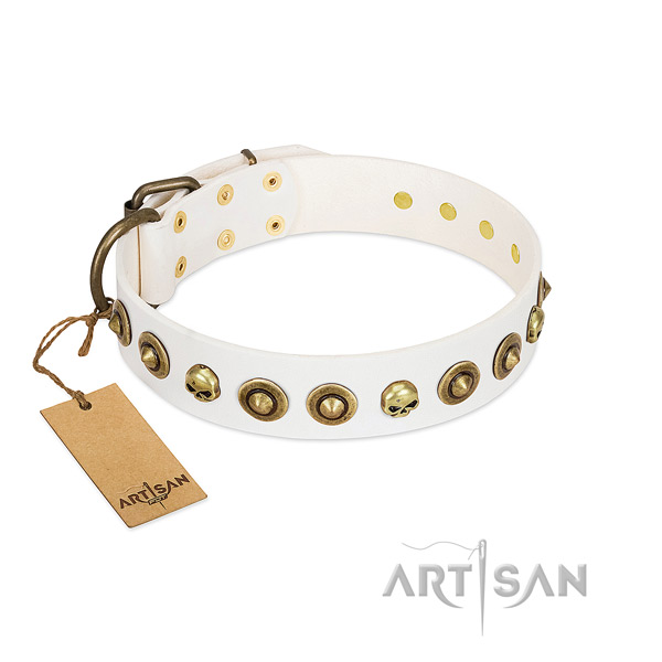 Full grain genuine leather collar with top notch studs for your doggie