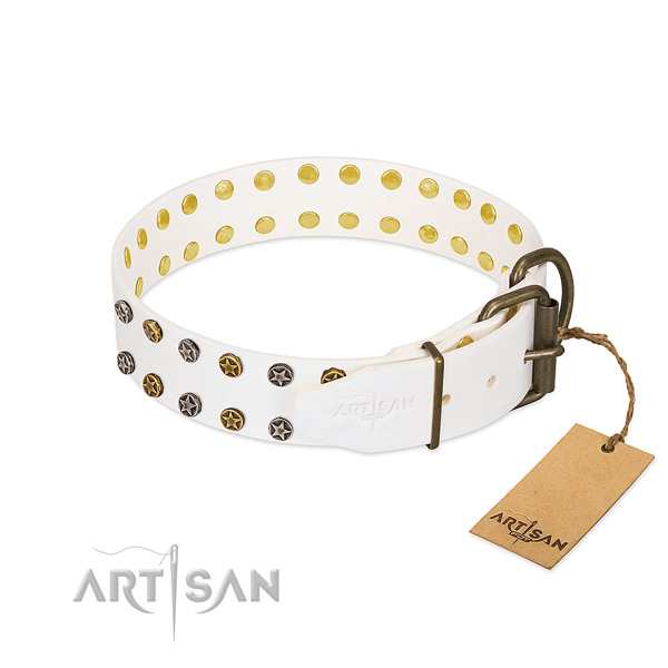 Genuine leather collar with designer decorations for your doggie