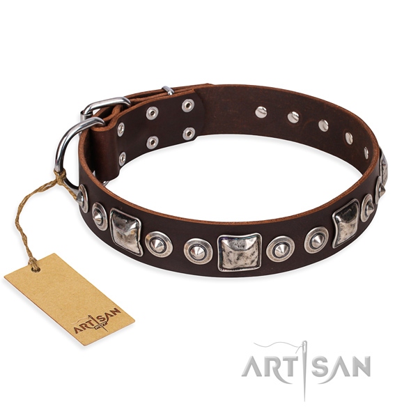 Natural genuine leather dog collar made of soft to touch material with rust-proof buckle