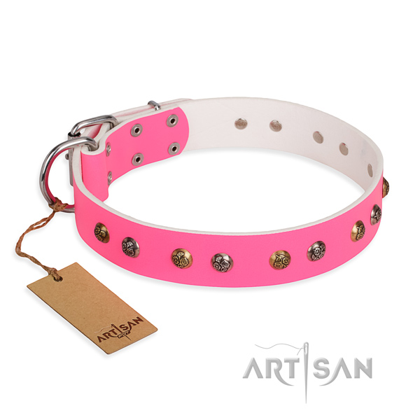 Handy use impressive dog collar with rust-proof traditional buckle