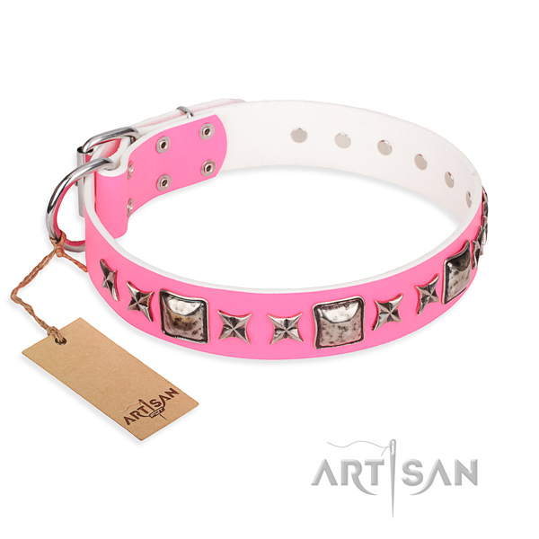Natural genuine leather dog collar made of quality material with durable D-ring