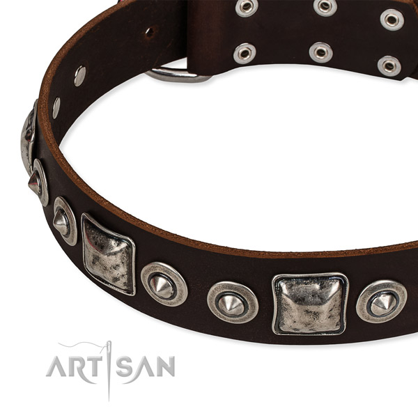 Full grain genuine leather dog collar made of soft material with embellishments