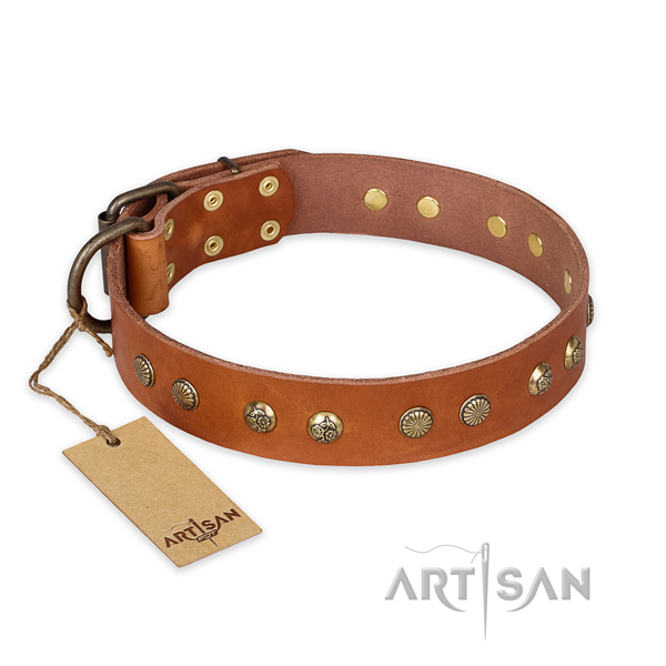 Awesome full grain leather dog collar with corrosion proof D-ring