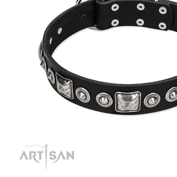 Leather dog collar made of soft to touch material with studs
