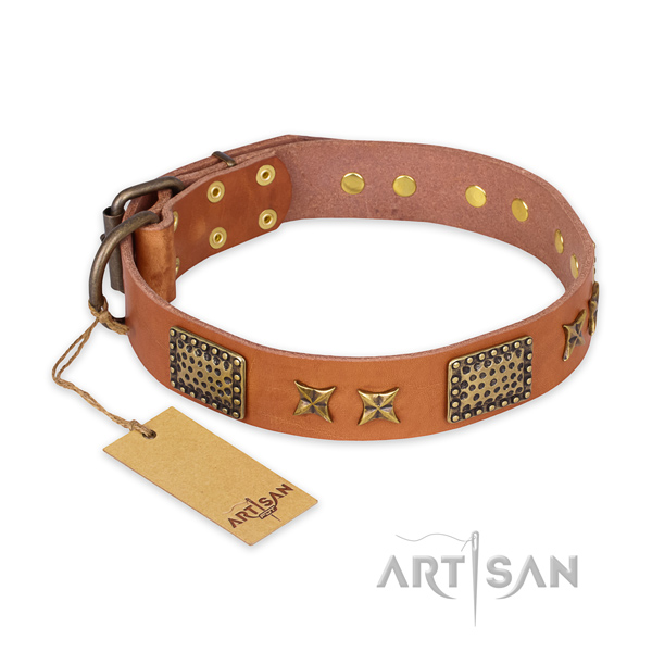 Awesome genuine leather dog collar with rust resistant traditional buckle