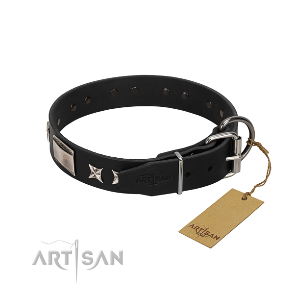 Quality full grain natural leather dog collar with rust-proof hardware