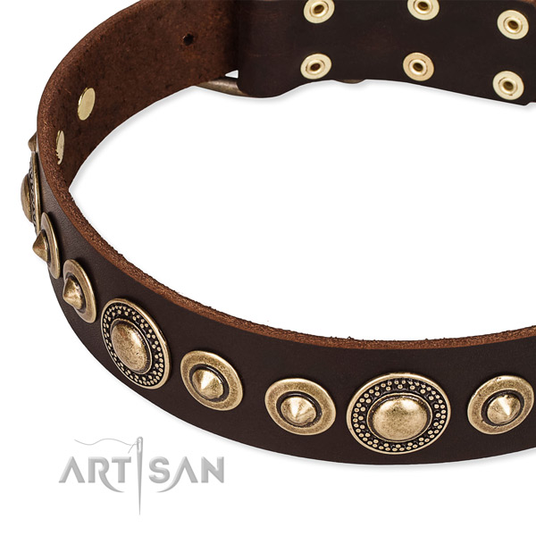 Soft to touch leather dog collar made for your attractive four-legged friend
