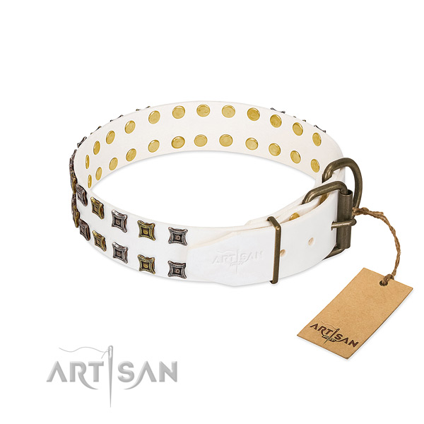 Full grain natural leather collar with top notch decorations for your doggie