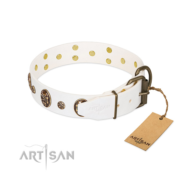 Rust-proof D-ring on full grain genuine leather dog collar for your pet