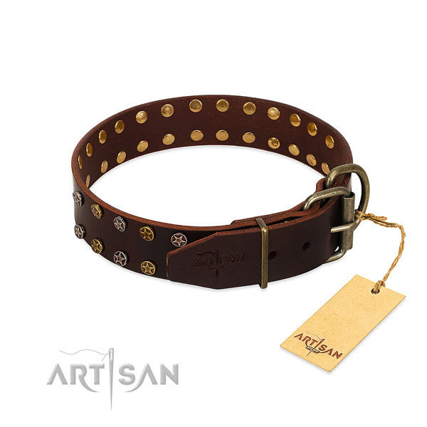 Daily walking full grain genuine leather dog collar with incredible decorations