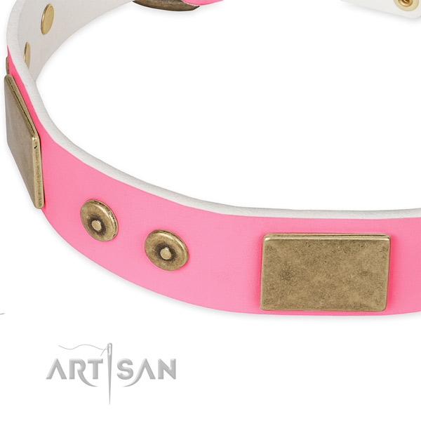 Natural genuine leather dog collar with embellishments for comfortable wearing