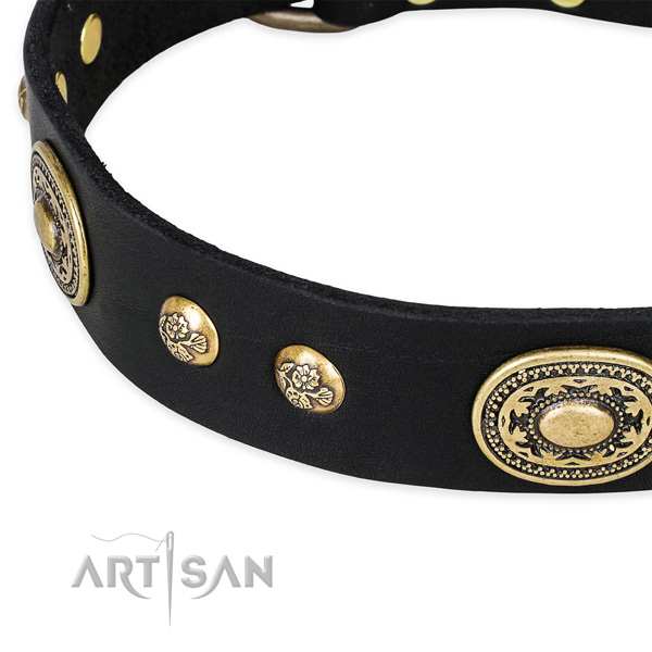 Easy to adjust genuine leather collar for your beautiful canine