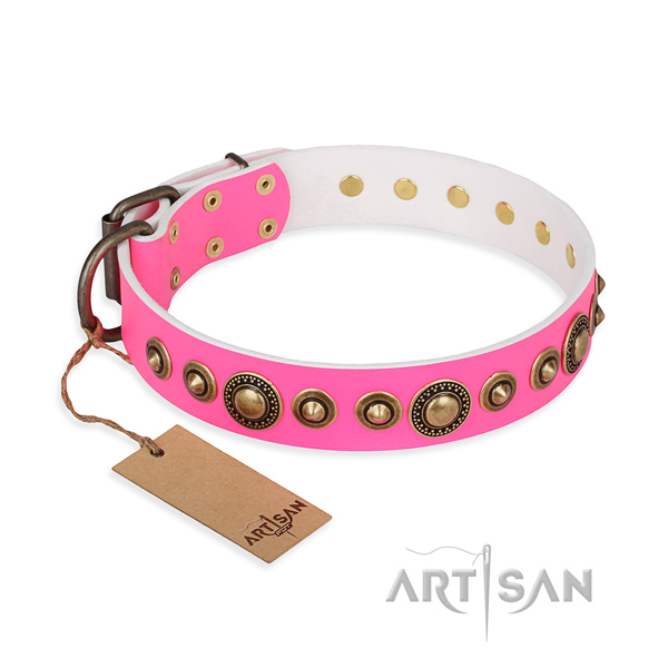 Soft to touch full grain natural leather collar handmade for your canine